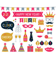 New year 2021 photo booth signs set vector