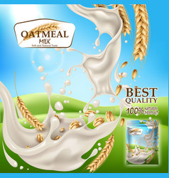 Oatmeal milk product package blue sky vector