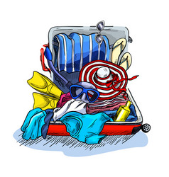 overpacked messy suitcase full vacation items vector image