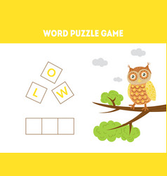 owl word puzzle game educational game for vector image