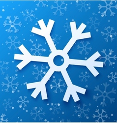 Paper abstract snowflake on blue background vector