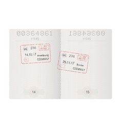 passport pages with german stamps hamburg and vector image