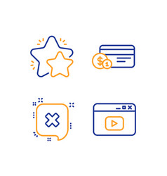 Payment method reject and star icons set video vector