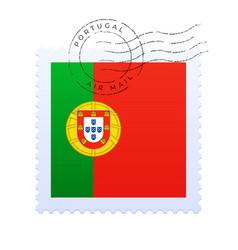 portugal postage mark national flag postage stamp vector image