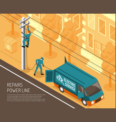 power line repair background vector image