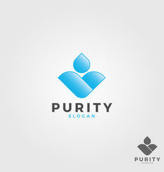 Purity - letter v water drop logo vector