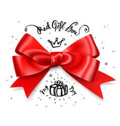 Red gift bow satin isolated red glamour bow for vector