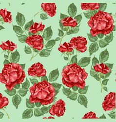 Red roses seamless pattern in vector