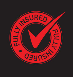 Red tick fully insured icon vector