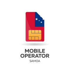 Samoa mobile operator sim card with flag vector
