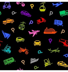 Seamless backdrop transport colored icons vector
