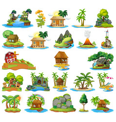 set house on isolated island vector image