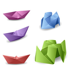Set with origami boats vector