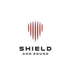 Shield guitar pick audio wave sound logo vector