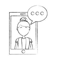 smartphone woman speech bubble chat vector image