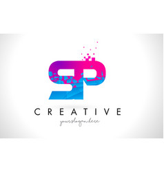 Sp s p letter logo with shattered broken blue vector