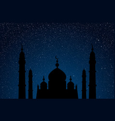 Starry sky with blue glow silhouette of mosque vector