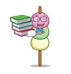 Student with book dango mascot cartoon style vector