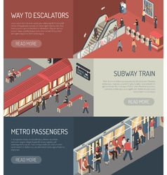 Subway Railway Isometric Horizontal Banners Set vector image