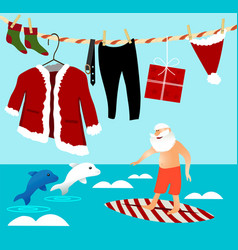 Surfing santa claus vector