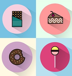 Sweet treats round icon set vector