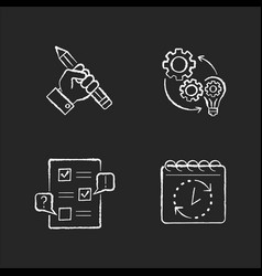 technical project chalk white icons set on black vector image