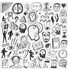 Thinking psychology - doodles set vector image