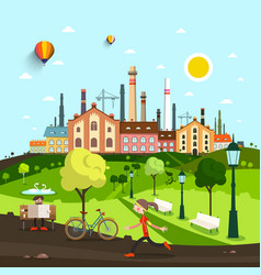 Town city with old factory and houses people in vector