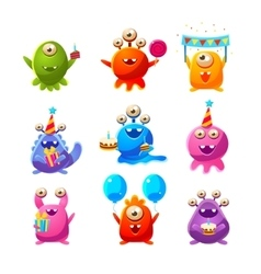 Toy aliens with birthday party objects vector