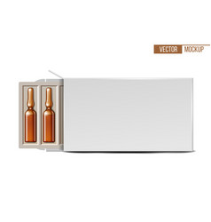 Transparent glass medical ampoules in white vector