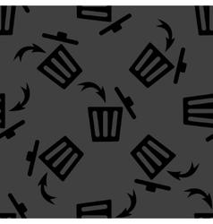 Trash bin web icon flat design Seamless gray vector