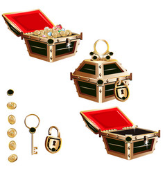 treasure chest with a gold frame and crystals vector image