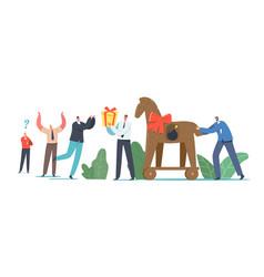 Trojan horse concept business man giving gift vector