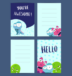 Vertical note cards set with pozitive vector