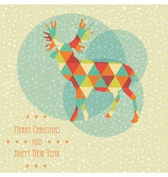 Vintage christmas card with reindeer snowflakes vector image vector image