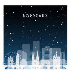 Winter night in bordeaux night city in flat style vector