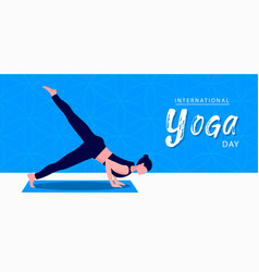 Yoga day banner woman in pose vector