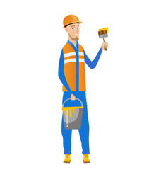 Young house painter with brush and bucket of paint vector