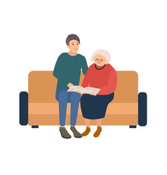 young male volunteer sitting on sofa with happy vector image