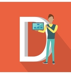 D letter and person demonstrating chart on tablet vector