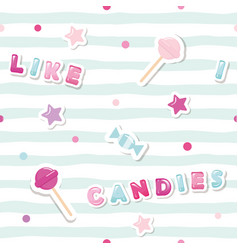 festive seamless pattern with cute stickers on vector image vector image