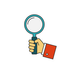 holding magnifying glass flat line vector image vector image