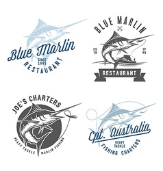 Marlin fishing emblems badges and design elements vector