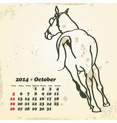 October 2014 hand drawn horse calendar vector image