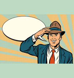 retro businessman takes off his hat vector image vector image