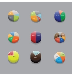 set of 3D pie charts business items and stats vector image