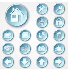abstract blue round paper icon set vector image vector image