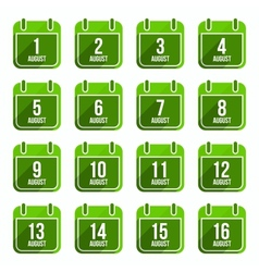 August flat calendar icons Days Of Year Set 21 vector image