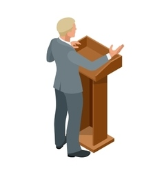 Business man giving a presentation in a conference vector image vector image