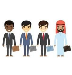 Businessmen characters of different ethnicity in vector image